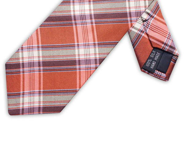 ORANGE/BROWN CHECK TIE