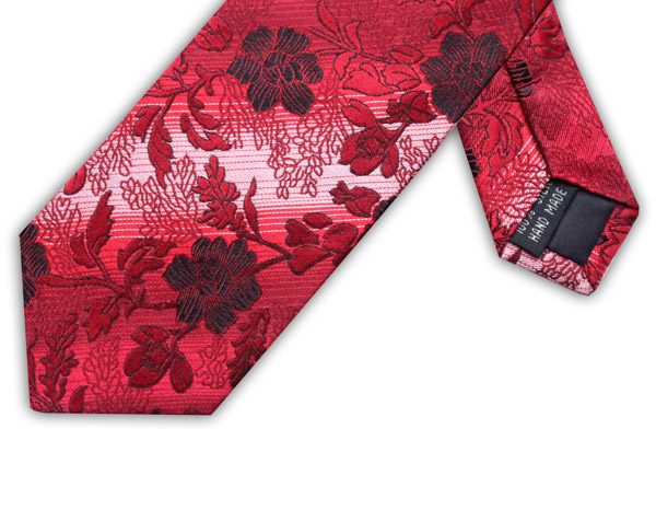 BURGUNDY/RED FLORAL TIE-0