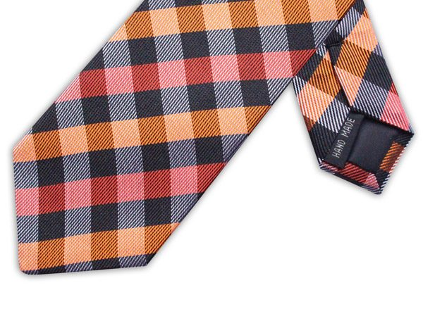 ORANGE/RED/BLACK CHECK TIE-0
