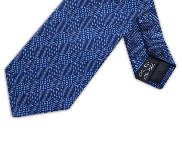 NAVY HOUNDSTOOTH CHECK TIE-0