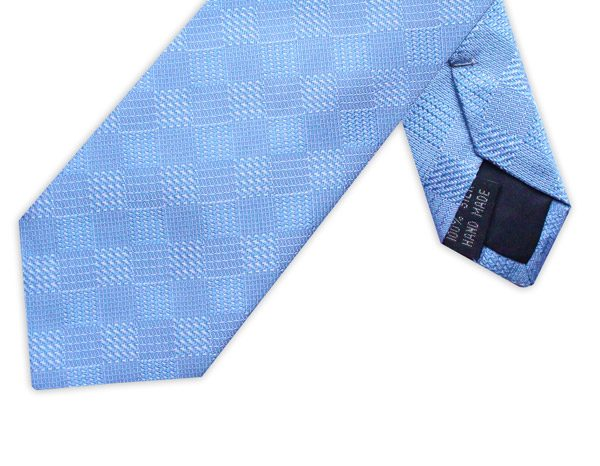LIGHT BLUE HOUNDSTOOTH CHECK TIE-0