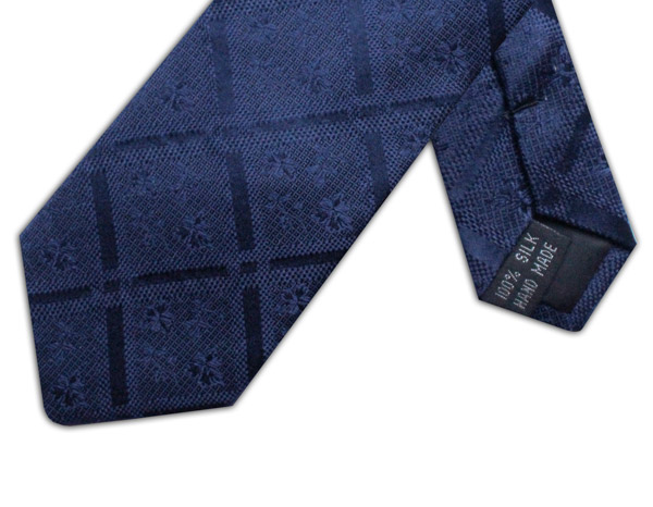 NAVY FLORAL AND CHECK TIE