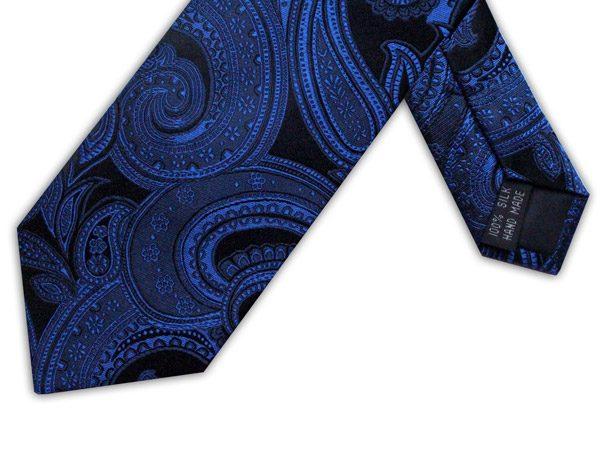 ROYAL BLUE/BLACK PAISLEY TIE-0