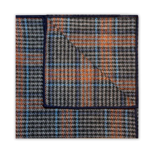 BLUE/ORANGE/GREY PRINCE OF WALES CHECK SQUARE