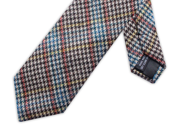BLUE/ORANGE/YELLOW PRINCE OF WALES CHECK TIE