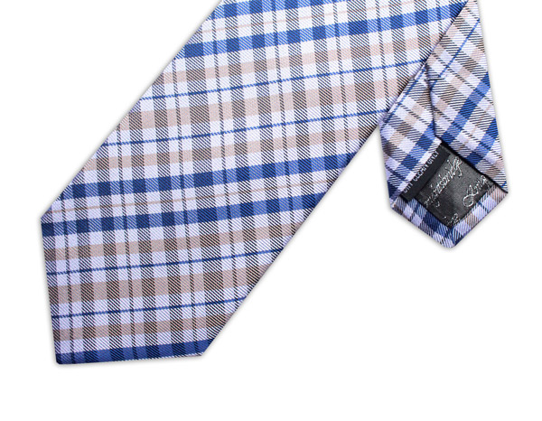 GREY/WHITE/BLUE CHECK TIE