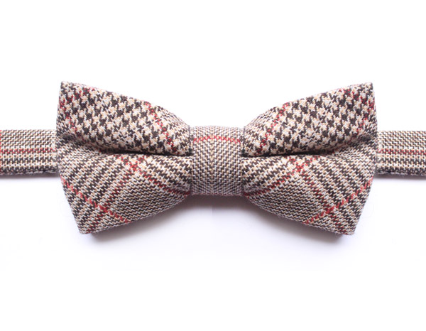 BROWN/RED PRINCE OF WALES PURE WOOL CHECK BOW TIE