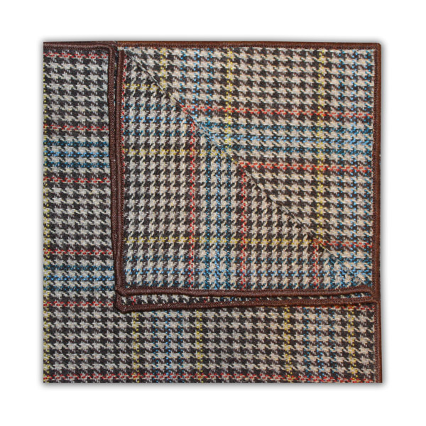 BLUE/ORANGE/YELLOW PRINCE OF WALES CHECK SQUARE