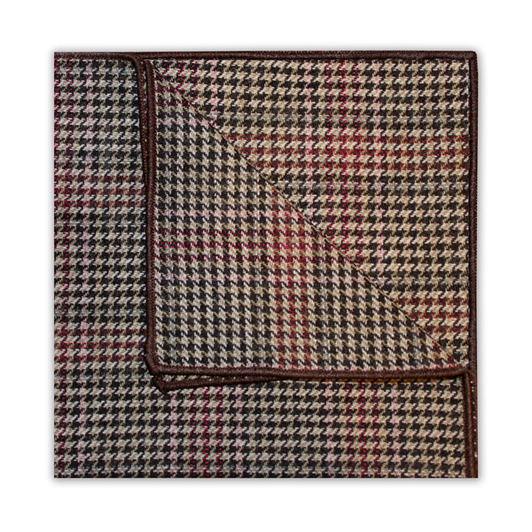 BROWN/PINK/RED PRINCE OF WALES CHECK SQUARE