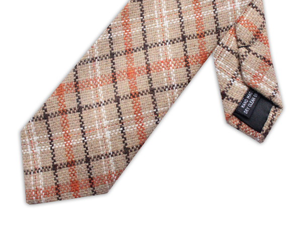 BROWN/ORANGE/BEIGE CHECK TIE
