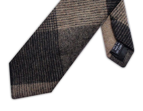 LARGE BLACK/BROWN/BEIGE CHECK TIE-0