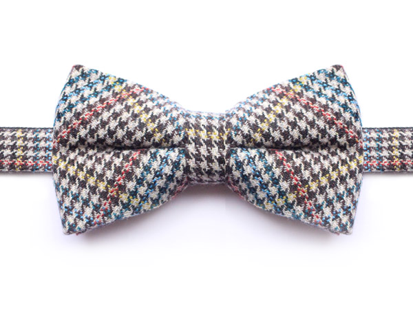 BLUE/ORANGE/YELLOW PRINCE OF WALES CHECK BOW TIE