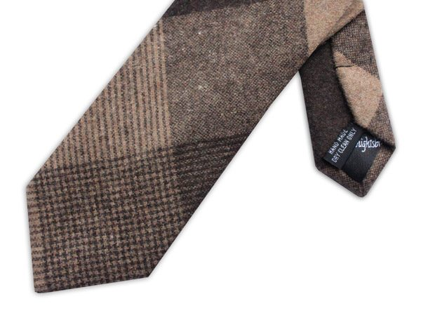 LARGE BEIGE/BROWN CHECK TIE-0