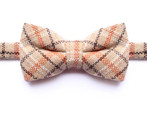 BROWN/ORANGE/BEIGE CHECK BOW TIE-0