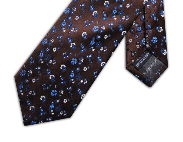 BROWN/BLUE/WHITE FLORAL XL TIE-0