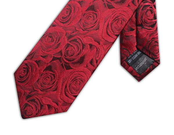 RUBY RED ROSE EFFECT TIE-0