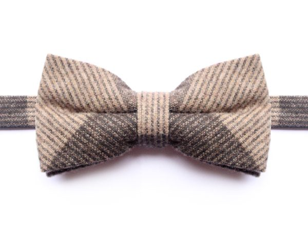 LARGE BEIGE/BROWN CHECK BOW TIE-0
