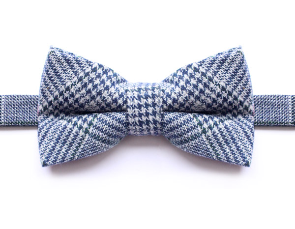 NAVY/GREEN PRINCE OF WALES CHECK BOW TIE