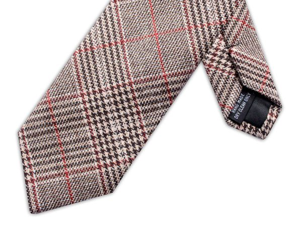 BROWN/RED PRINCE OF WALES CHECK TIE-0