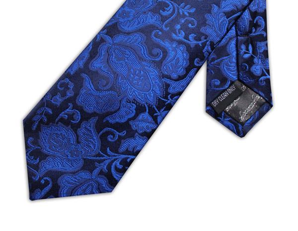 NAVY/ROYAL BLUE FLORAL TIE