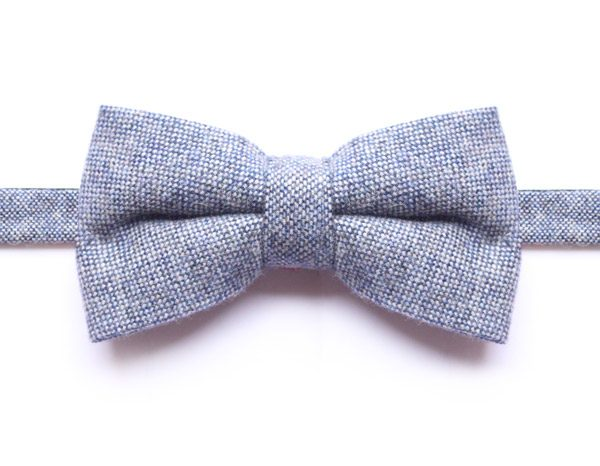 SPECKLED LIGHT BLUE BOW TIE-0