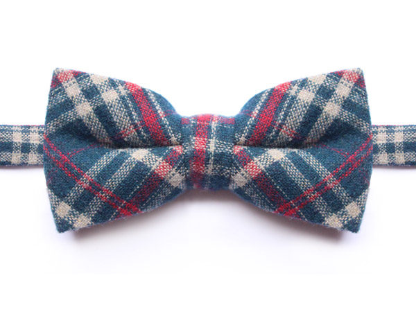NAVY/CREAM/RED CHECK BOW TIE-0