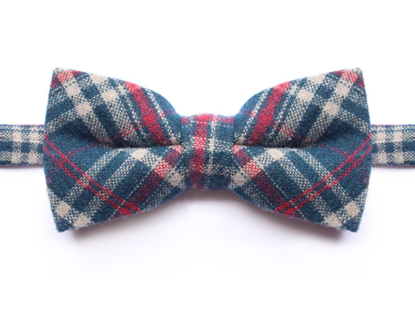NAVY/CREAM/RED PURE WOOL CHECK BOW TIE