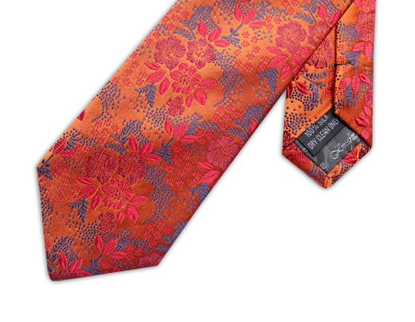 ORANGE/PINK/GREY FLORAL XL TIE-0