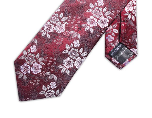 BURGUNDY/WHITE/GREY FLORAL XL TIE-0