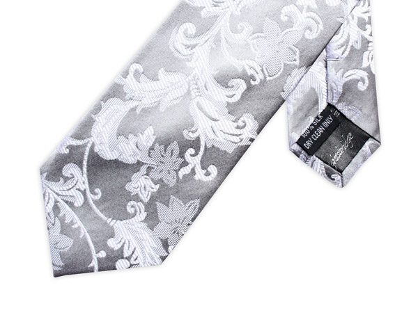 SILVER/WHITE FLORAL TIE-0