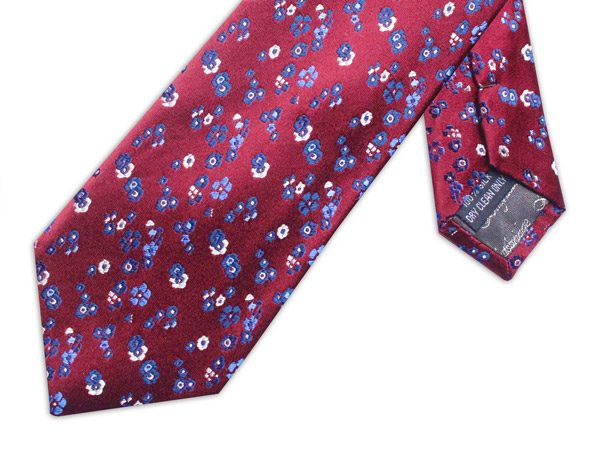 BURGUNDY/BLUE/WHITE FLORAL XL TIE-0