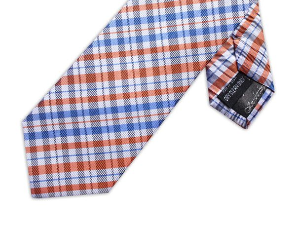 ORANGE/WHITE/BLUE CHECK XL TIE-0