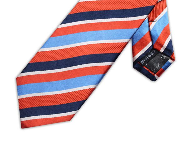 ORANGE/BLUE STRIPE TIE-0