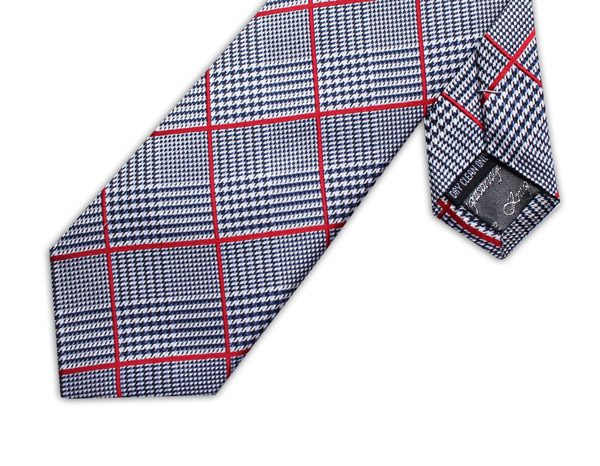 RED/BLACK PRINCE OF WALES CHECK XL TIE-0