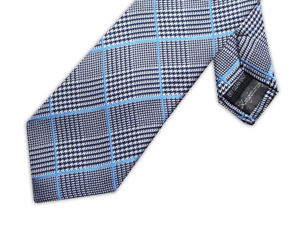 BLUE/BLACK PRINCE OF WALES CHECK XL TIE-0