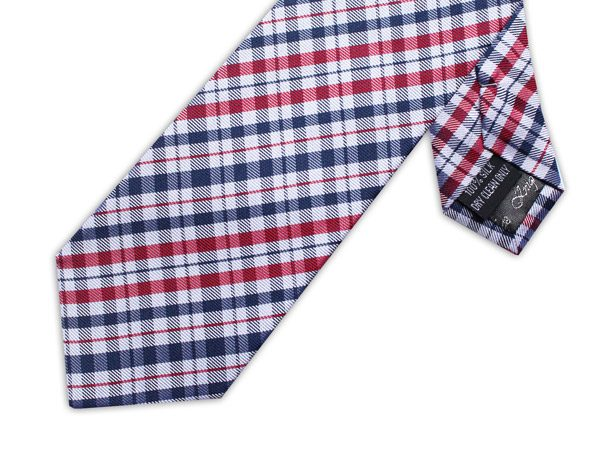 NAVY/RED/WHITE CHECK XL TIE-0