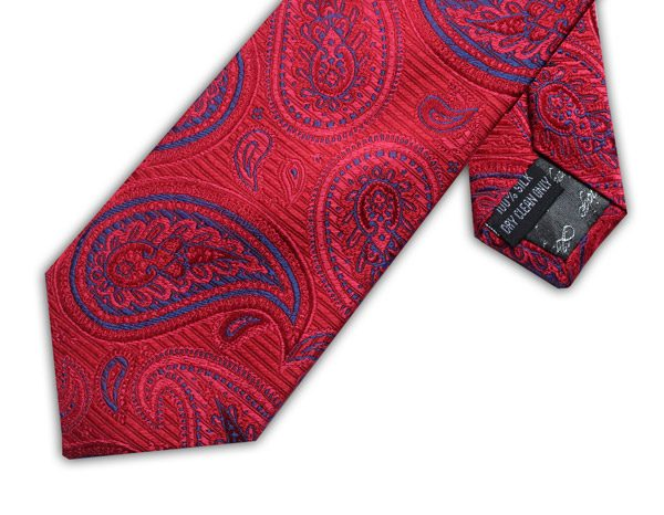BRIGHT PINK/BLUE PAISLEY XL TIE-0