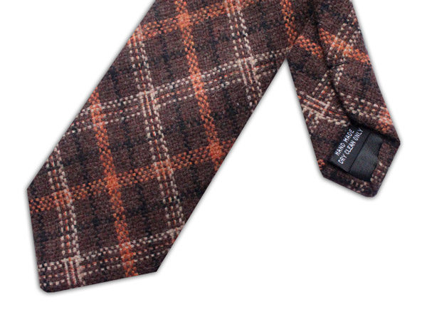 BROWN/ORANGE/BLACK CHECK TIE-0
