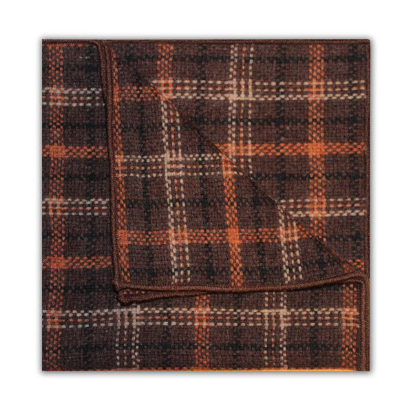 BROWN/ORANGE/BLACK CHECK SQUARE