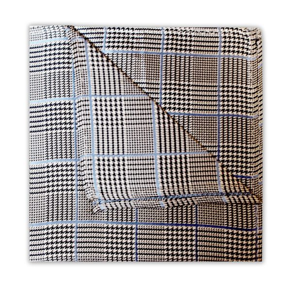 BLACK/BLUE PRINCE OF WALES CHECK SQUARE-0