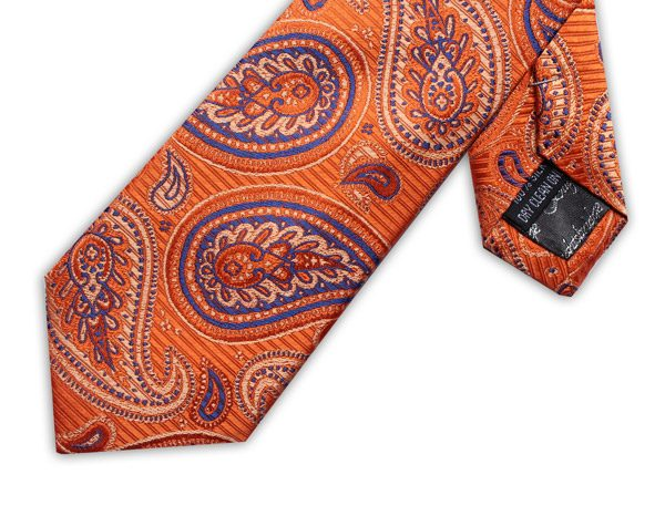 ORANGE/BLUE PAISLEY XL TIE-0