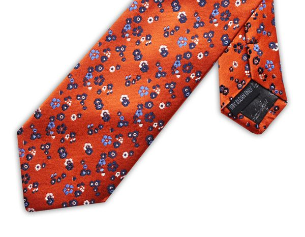 ORANGE/BLUE/WHITE FLORAL XL TIE-0