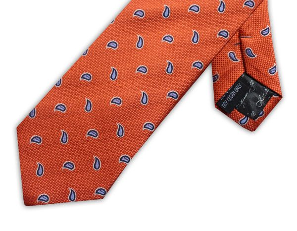 ORANGE/BLUE POLKA DOT PAISLEY XL TIE-0
