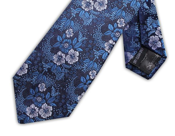 NAVY/WHITE/BLUE FLORAL XL TIE-0