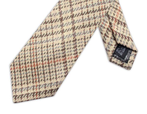 CREAM/GREY/ORANGE CHECK TIE-0