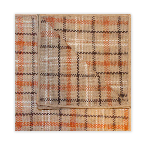 BROWN/ORANGE/BEIGE CHECK SQUARE