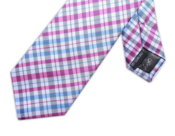 PINK/WHITE/BLUE CHECK XL TIE-0