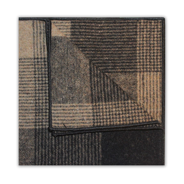 LARGE BLACK/BROWN/BEIGE CHECK SQUARE-0