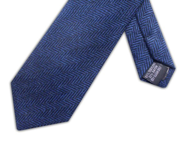 BLUE HERRINGBONE TIE-0