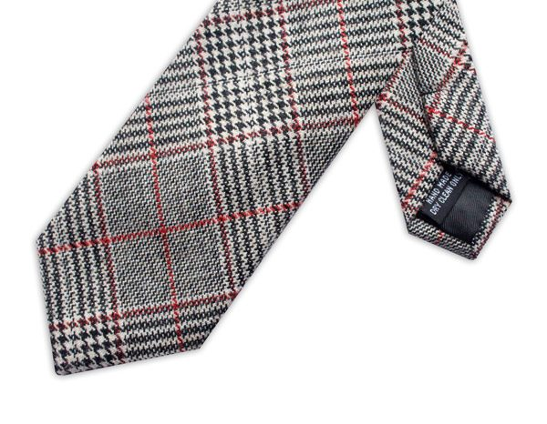 BLACK/RED PRINCE OF WALES CHECK TIE-0